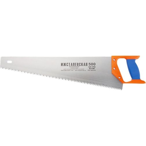 Ножовка по дереву, 400 мм, шаг зубьев 4 мм, пластиковая рукоятка (Ижевск) Россия