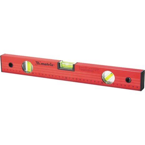 Уровень алюминиевый, 1800 мм, 3 глазка, красный, линейка Matrix