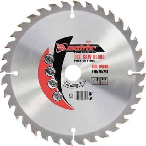 Пильный диск по дереву, 150 х 20 мм, 48 зубьев, кольцо 16/20 Matrix Professional