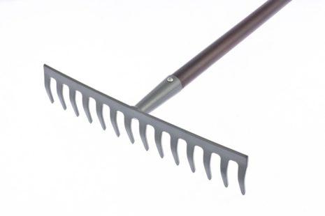Грабли стальные, 360х1250 мм, 14 прямых зубьев, деревянный лакированный черенок, LUXE Palisad 61789