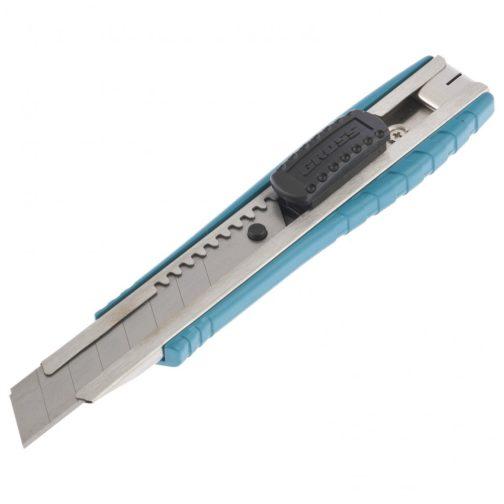 Нож, 160 мм, металлический корпус, выдвижное сегментное лезвие 18 мм (SK-5), металлическая направляющая, клипса для ремня Gross