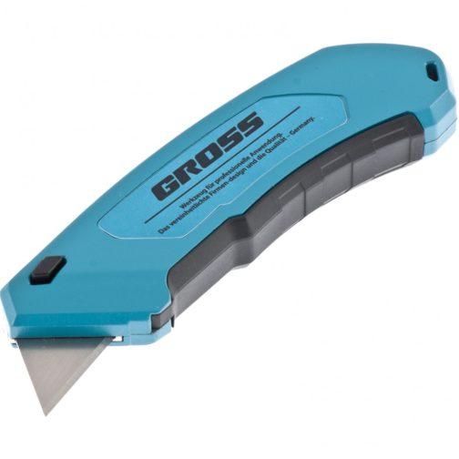 Нож, 130 мм, алюминиевый корпус, выдвижное трапециевидное лезвие 18 мм (SK-5), клипса для ремня, 4 лезвия Gross