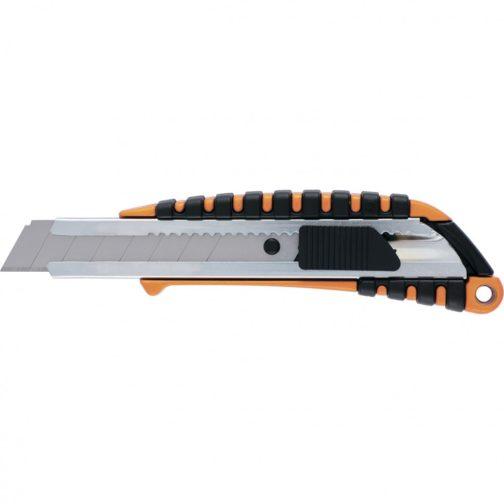 Нож, 18 мм, выдвижное лезвие, металлическая направляющая, металлический двухкомпонентный корпус Sparta