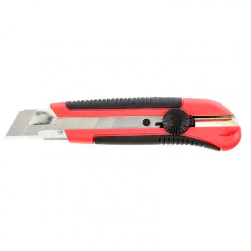 Нож, 25 мм, выдвижное лезвие, металлическая направляющая, двухкомпонентный корпус, винтовой фиксатор, с магнитом Matrix