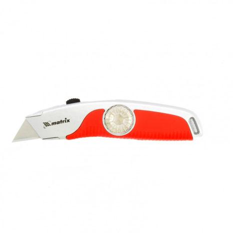 Нож, 19 мм, выдвижное трапециевидное лезвие, эргономичная двухкомпонентная рукоятка Matrix