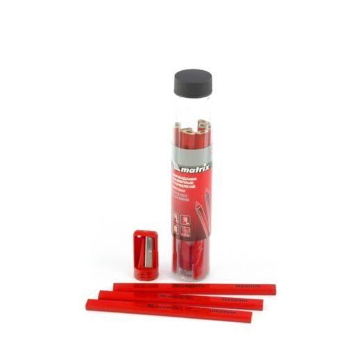 Набор карандашей малярных прямоугольных с точилкой в тубе, 175 мм, 10 шт Matrix