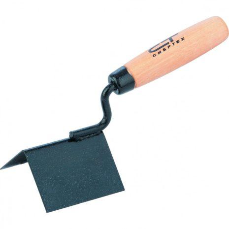 Кельма угловая, 80 х 60 х 60 мм, стальная, для внешних углов, буковая ручка Сибртех 86311