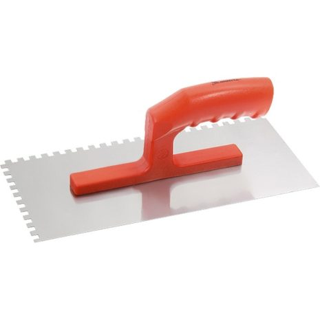 Гладилка стальная, 280 х 130 мм, зеркальная полировка, пластмассовая ручка, зуб 6 х 6 мм Matrix 86775