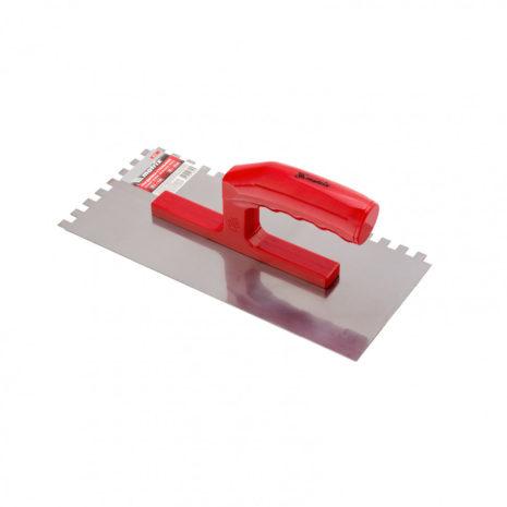 Гладилка стальная, 280 x 130 мм, зеркальная полировка, пластмастмассовая ручка, зуб 10 x 10 мм Matrix 86779