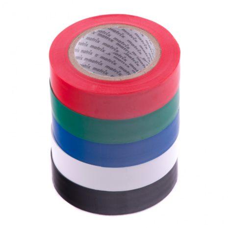 Набор изолент ПВХ цветных 15 мм х 10 м, в упаковке 5 шт, 150 мкм Matrix 88786