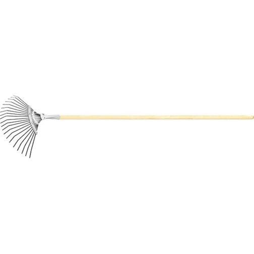 Грабли веерные стальные, 385х1500 мм, 20 плоских зубьев, деревянный черенок, Россия Сибртех 61779