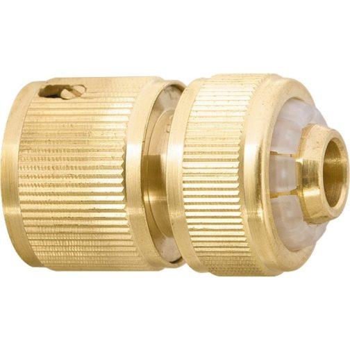 Соединитель латунный, быстросъемный для шланга 1/2, аквастоп Palisad 66240