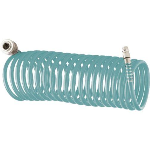 Полиуретановый спиральный шланг профессиональный BASF, 15 м, с быстросъемными соединением Stels 57009