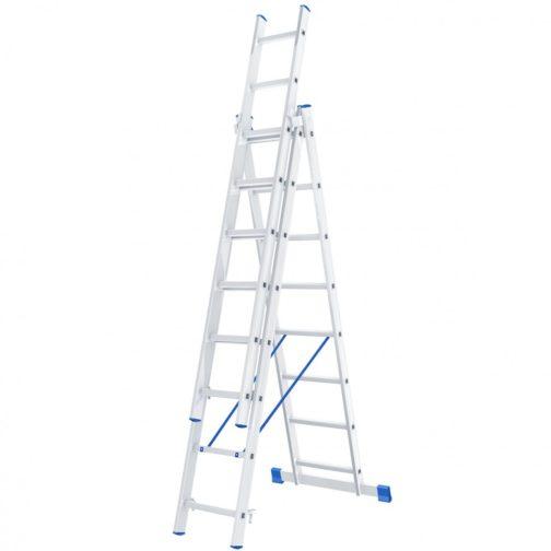 Лестница, 3 х 8 ступеней, алюминиевая, трехсекционная, Россия, Сибртех 97818