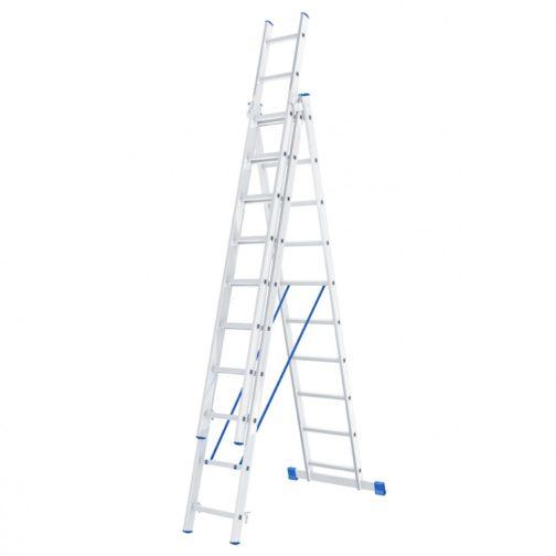Лестница, 3 х 10 ступеней, алюминиевая, трехсекционная, Россия, Сибртех 97820
