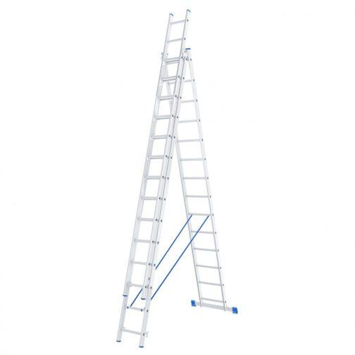 Лестница, 3 х 14 ступеней, алюминиевая, трехсекционная, Россия, Сибртех 97824